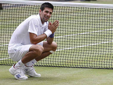 Novak Djokovic of Serbia reacts after defeating Rafael Nadal of Spain in the men's singles final at the Wimbledon tennis championships in London. Reuters