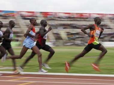 Kenyan 800 metres world record holder Rudisha runs during the men's Olympic trial in Nairobi. Reuters