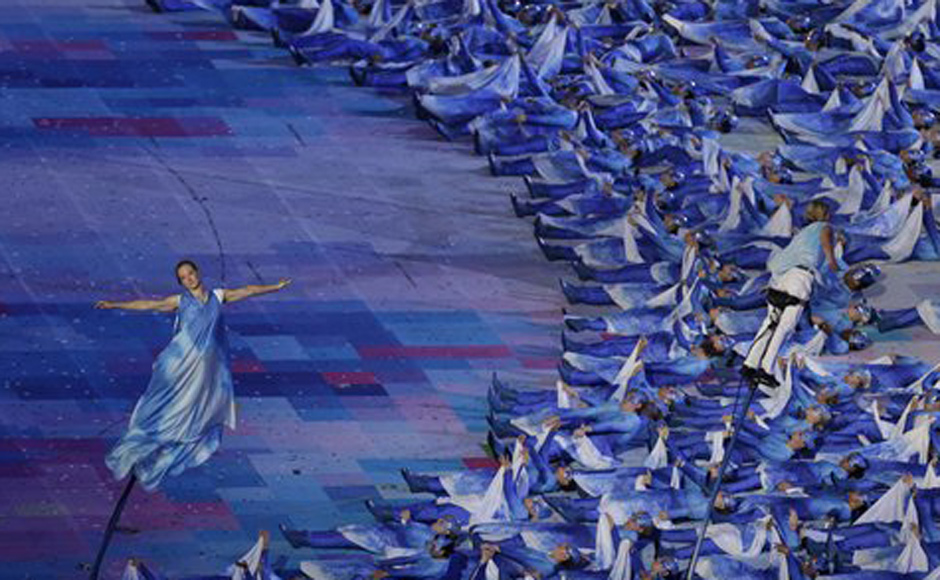 Peformers participate in the Opening Ceremony for the 2012 Paralympics in London. AP