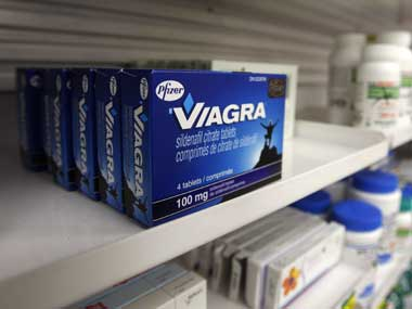 box of Viagra, typically used to treat erectile dysfunction, is seen