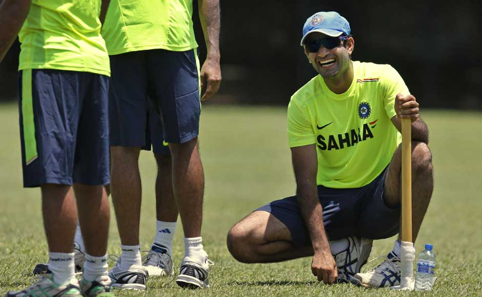 Irfan Pathan is all smiles at a practice session in Sri Lanka. Wonder what the joke was? AP