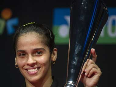 Saina after winning in Denmark. AFP