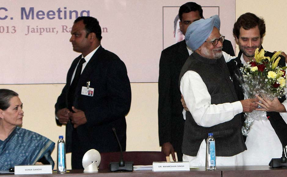 Prime Minister Manmohan Singh, second right, greets Rahul Gandhi after he was appointed Vice President of the Congress party, as party President Sonia Gandhi watches in Jaipur. AP