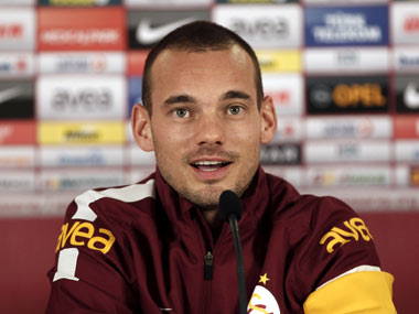 Sneijder talks to the media after sealing his move to Galatasaray. Reuters
