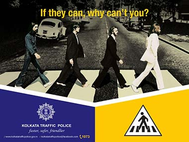 The Beatles poster. Image from Kolkata Traffic Police's Facebook Page.