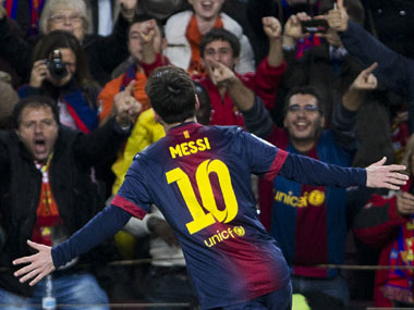 Messi scored a 12th consecuvitve La Liga goal. AP