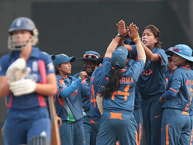 Jhulan Goswami celebrates a wicket with her teammates. ICC/Solaris Images