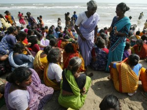 Villagers gather on a beach in Nagapattinam. Reuters