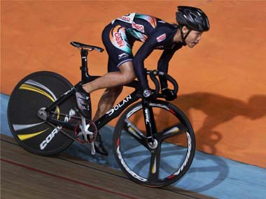 Deborah competes in the finals of women's junior sprint at the Asian Cycling Championship in New Delhi on Monday. PTI