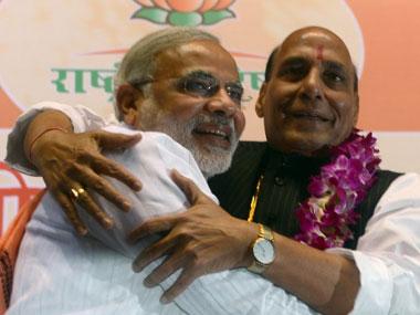 Rajnath Singh with Narendra Modi. AFP