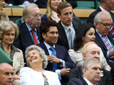 Sachin Tendulkar watching tennis at Wimbledon. Getty
