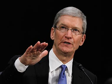 Tim Cook during the US Senate hearing. Reuters