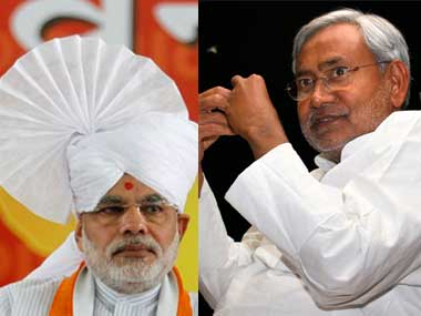 Gujarat CM Narendra Modi (L) and his Bihar counterpart Nitish Kumar.