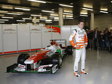 File photo of Paul Di Resta with the 2013 Force India car. Reuters