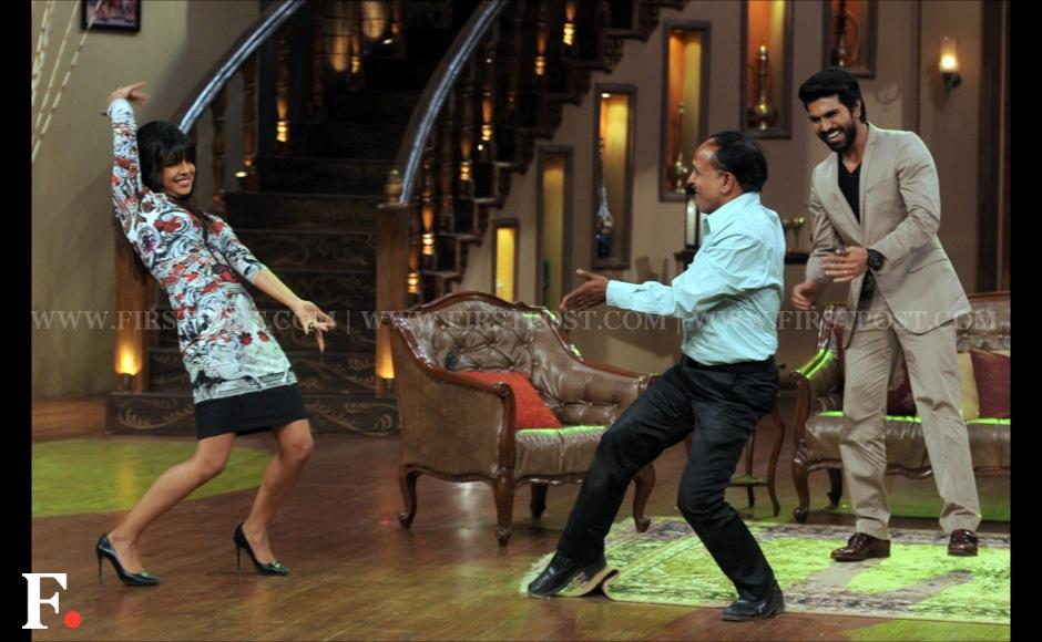 Priyanka Chopra and Ram Charan Teja dance with an audience member on the sets of Comedy Nights with Kapil. Sachin Gokhale/ Firstpost