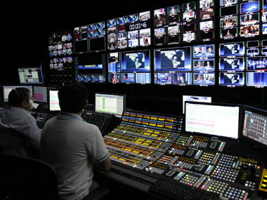 Technicians at a TV channel. Reuters