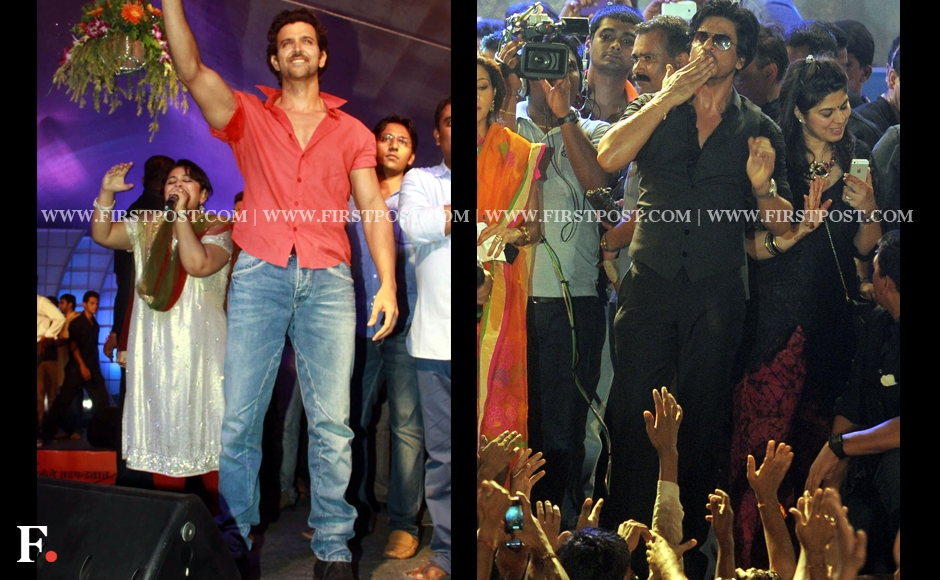 Hrithik Roshan and Shah Rukh Khan celebrate Dahi Handi with their fans. Sachin Gokhale/Firstpost
