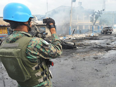 A UN peacekeeper in Haiti. AFP.