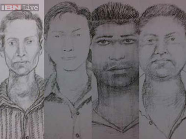 A sketch of the four accused. Ibnlive