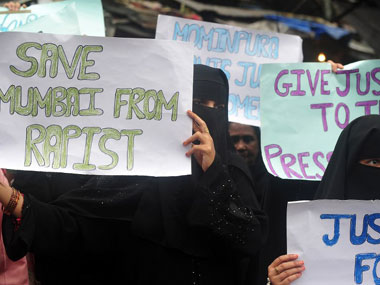 Protests against rape in Mumbai. AFP.