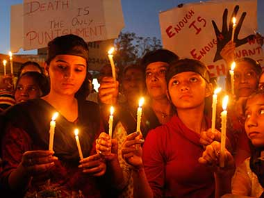Candle march at Delhi protesting December 16 gangrape. File photo. AP