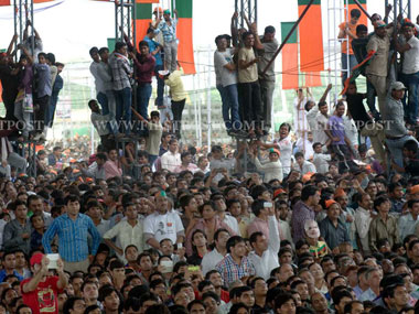 A section of the massive crowds that turned up to see Modi in Delhi: Naresh Sharma/Firstpost