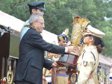 President Pranab Mukherjee presenting the   trophy for best all round IPS officer trainee to Shalini Agnihotri, IPS (OT), at Sardar Vallabhai Patel National Police Academy, in Hyderabad on 5 November 2013. Image courtesy PIB