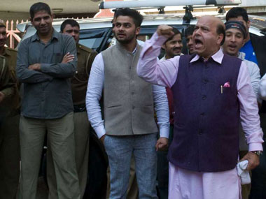 Vijay Jolly in front of Shoma Chaudhury's house. Naresh Sharma/Firstpost