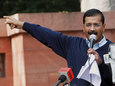 Kejriwal during his two-day-long dharna. PTI