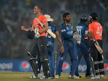 Alex Hales of England celebrates hitting the winning runs during the ICC World Twenty20 Bangladesh 2014 Group 1 match between England and Sri Lanka. Getty Images