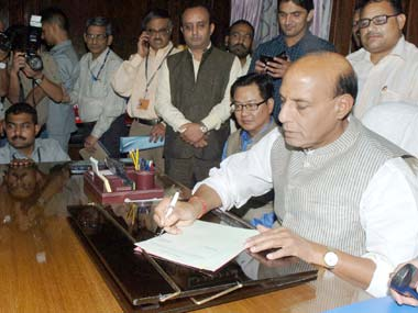 Rajnath Singh taking charge of the Home ministry in this file photo. PIB