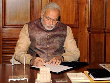 PM Narendra Modi in his office. PTI