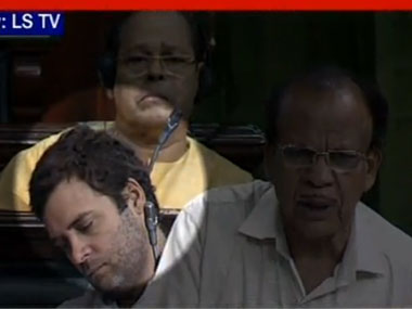 A screen grab of Rahul Gandhi allegedly napping in Parliament. Ibnlive