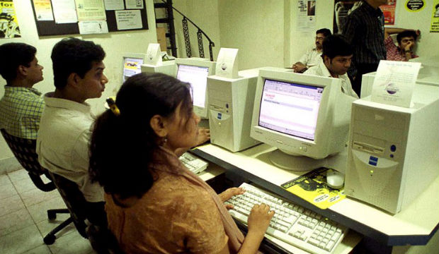A cyber cafe in India. AFP