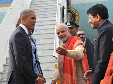 President Obama with PM Modi at Palam Air Station in New Delhi on Sunday.