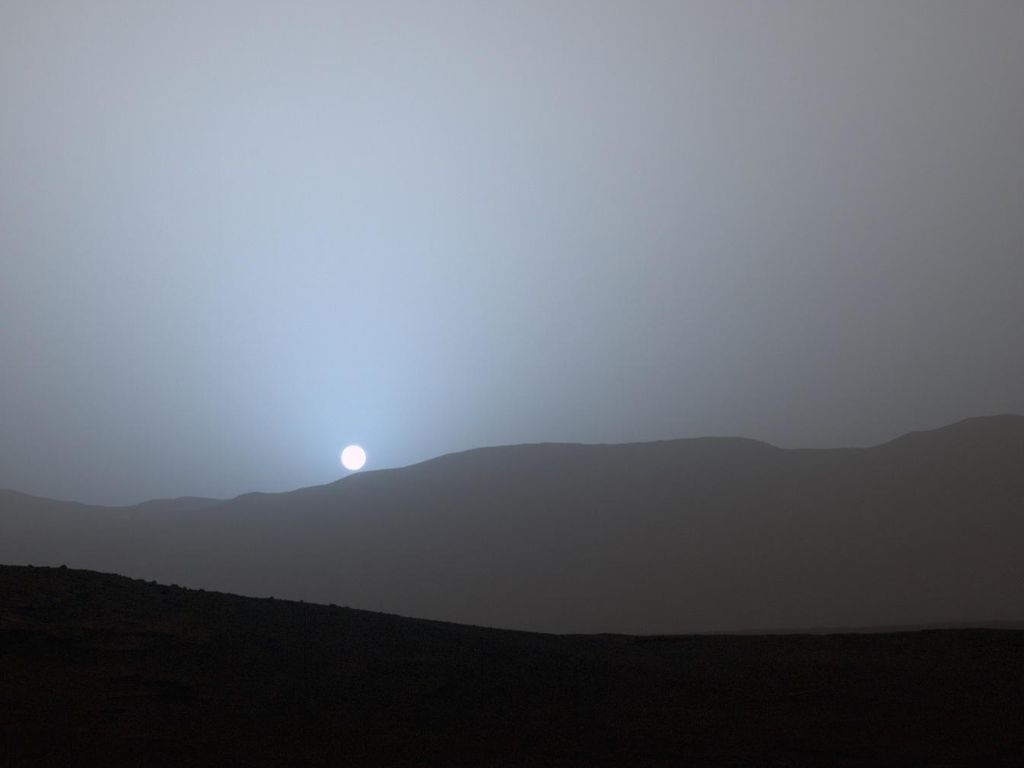 NASA's Curiosity rover has recorded a stunning view of the sunset from its location in Gale Crater on the Red Planet. This was the first sunset observed in color by Curiosity. Image credit: NASA