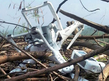 The drone which Pakistan has claimed to have shot down along the Line of Control (LoC) in Pakistan occupied Kashmir. PTI