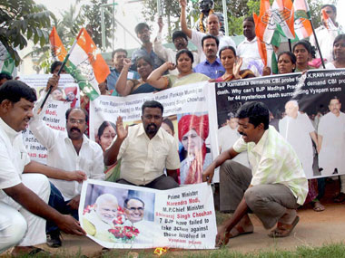 Protests against BJP leaders in connection with Vyapam scam. PTI