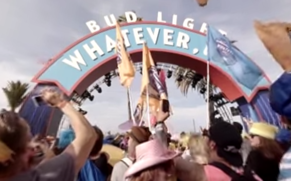 Screen grab from Budlight's 360 degree advert.