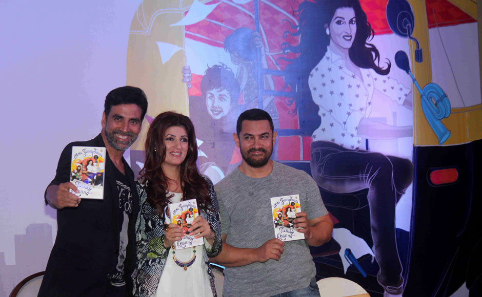 Bollywood actor and columnist Twinkle Khanna along with her husband and actor Akshay Kumar and Aamir Khan during the launch of her book Mrs.Funnybones, in Mumbai, India on August 18, 2015.  SOLARIS IMAGES