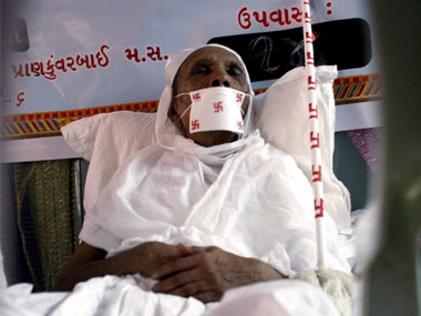 A file photo of 78-year-old Taraben Chovatia, who had renounced food in 2008, as part of Santhara. AFP