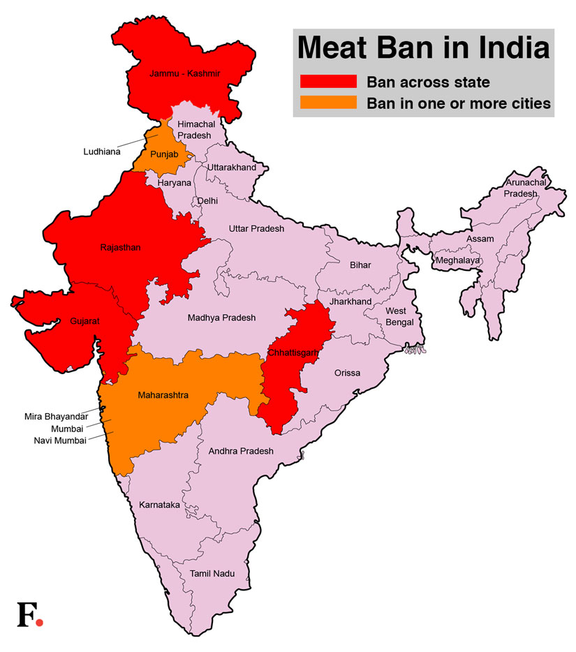A map of India showing where the meat ban is completly or partially in place