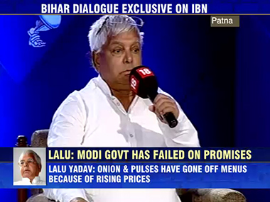 RJD leader Lalu Yadav fields questions at the IBN Dialogue Bihar 2.0. IBNLive