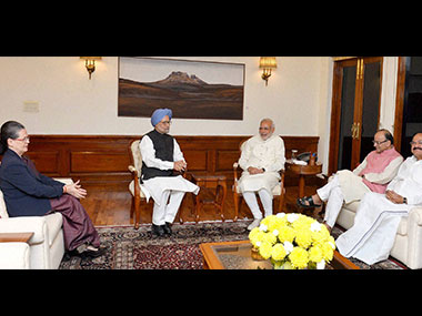 Sonia Gandhi, Manmohan Singh, Narendra Modi, Arun Jaitley and M Venkaiah Naidu discuss the GST bill. PTI