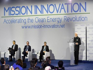 Prime Minister Narendra Modi speaks at Mission Innovation in Paris on Monday as French President Francois Hollande, US President Barack Obama and Bill Gates watch. PTI