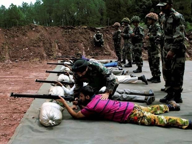 Army personnel train Village Defence Committee members. File photo. PTI