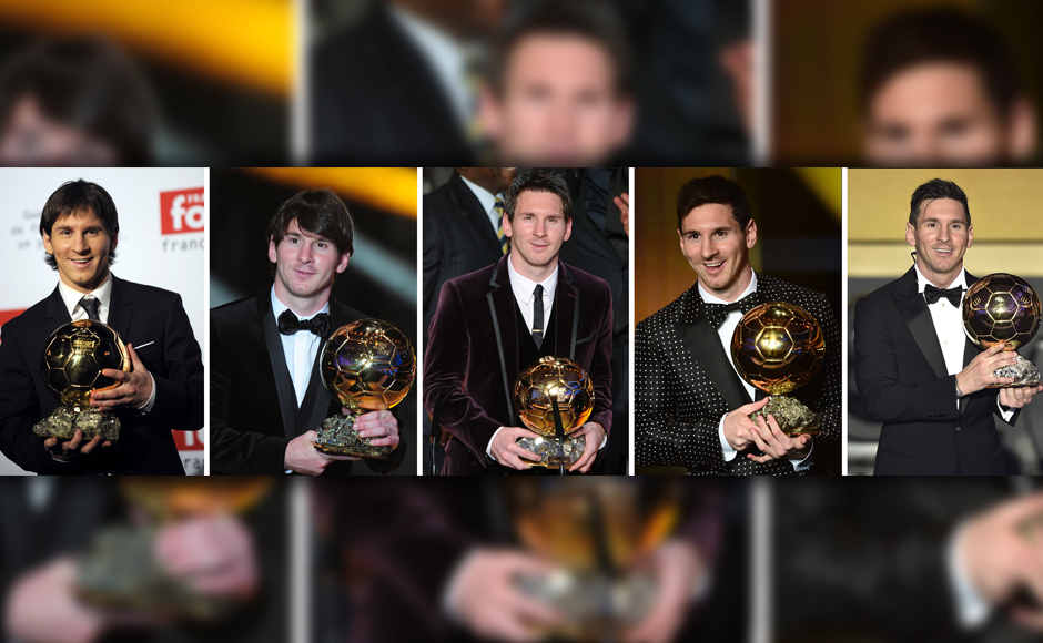 High-five: A combination photo from 2010 to 2016 Lionel Messi posing with his 5 Ballon d'Or trophies. AFP