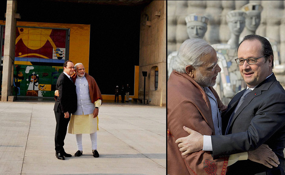 "Prime Minister Narendra Modi greets French President Francois Hollande at the Rock Garden of Chandigarh. Hollande, who is on a three-day visit to India, praised PM Modi for playing an ""important"" role in Paris COP21. PTI"