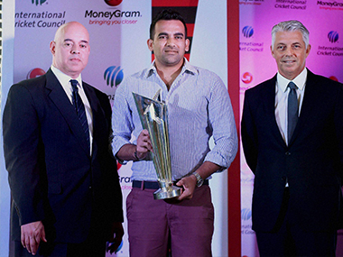 Juan Agualimpia, Zaheer Khan and David Richardson during the ICC press conference. PTI