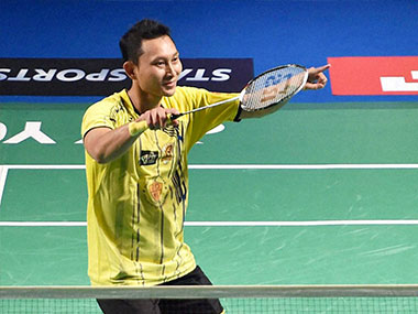 Sony Dwi Kuncoro of Chennai Smashers celebrates after winning  against Sameer Verma of Bengaluru Topguns. PTI